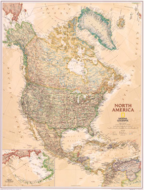 National Geographic North America Executive Wall Map